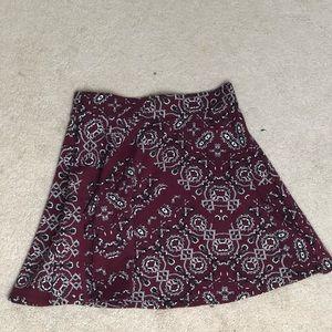 Aeropostale Burgundy Patterned Skater Skirt